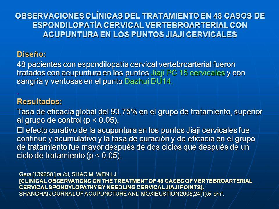 LA INFLUENCIA HEMODINÁMICA EN LA ESPONDILOSIS CERVICAL DE TIPO ARTERIA VERTEBRAL TRATADA CON ACUPUNTURA EN YUZHEN (V 9) Y FENGCHI (VB 20) Diseño: Estudio controlado randomizado ECR 66 pacientes se dividieron aleatoriamente en dos grupos: Grupo A tratado con acupuntura en Yuzhen (V 9) Fengchi (VB 20) Grupo B tratado con puntos Jiaji PC 15 cervicales (C4-6).