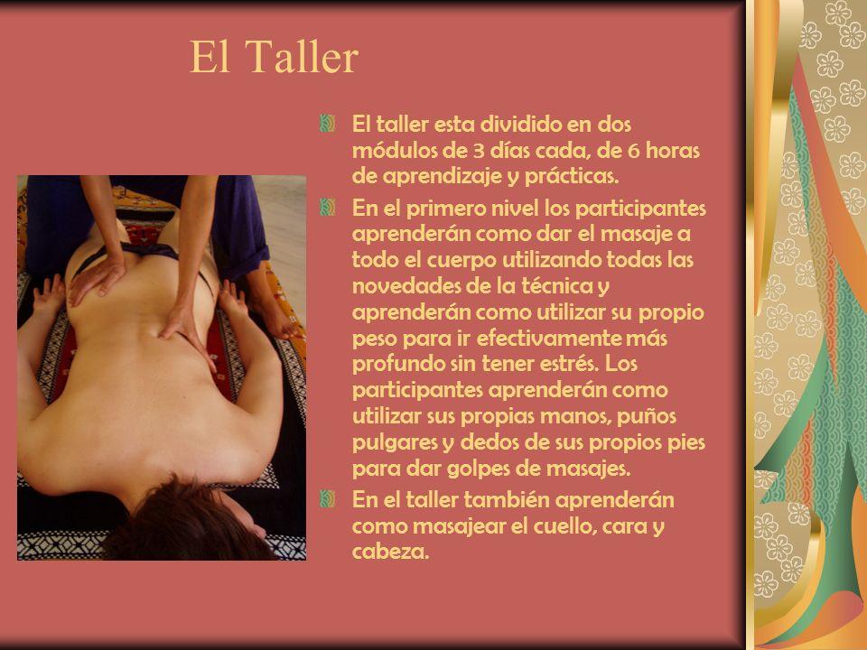 El Taller El taller esta dividido en dos módulos de 3 días cada, de 6 horas de aprendizaje y prácticas. En el primero nivel los participantes aprender