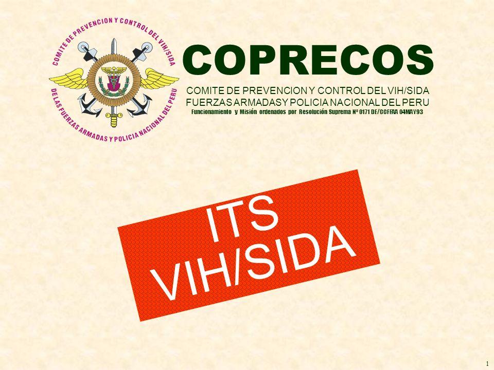 COPRECOS COMITE DE PREVENCION Y CONTROL DEL VIH/SIDA FUERZAS ARMADASY POLICIA NACIONAL DEL PERU Funcionamiento y Misión ordenados por Resolución Supre