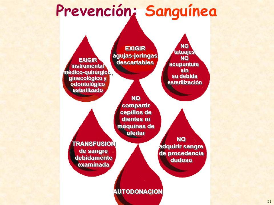 Prevención: Sanguínea EXIGIR instrumental médico-quirúrgico, ginecológico y odontológico esterilizado EXIGIR instrumental médico-quirúrgico, ginecológ