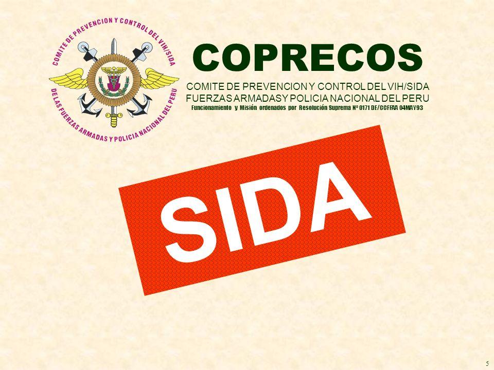 SIDA COPRECOS COMITE DE PREVENCION Y CONTROL DEL VIH/SIDA FUERZAS ARMADASY POLICIA NACIONAL DEL PERU Funcionamiento y Misión ordenados por Resolución