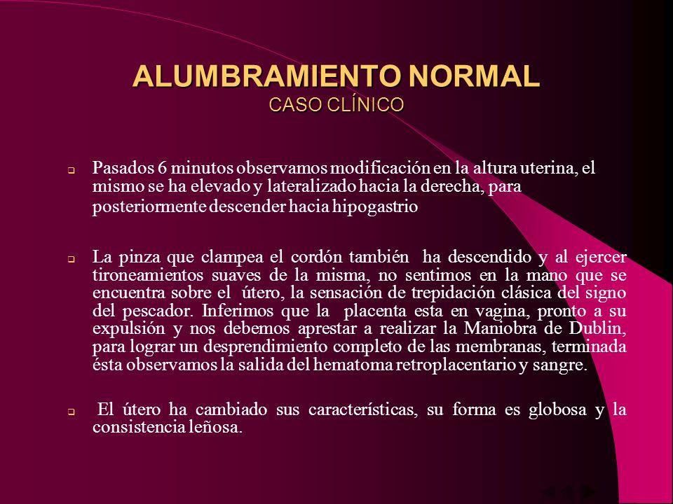 ALUMBRAMIENTO NORMAL TIEMPOS Desprendimiento de la Placenta Desprendimiento de las Membranas Descenso de la Placenta Expulsión de la Placenta