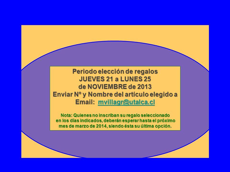 Periodo elección de regalos JUEVES 21 a LUNES 25 de NOVIEMBRE de 2013 Enviar Nº y Nombre del artículo elegido a Email: mvillagr@utalca.cl mvillagr@uta