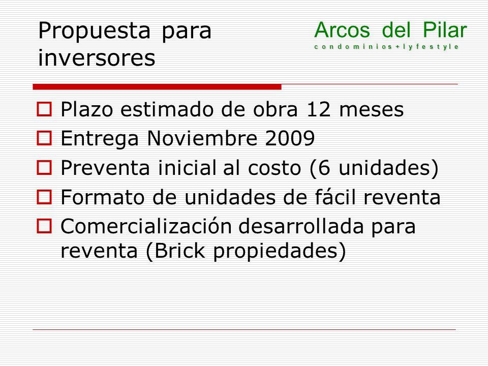 Propuesta para inversores Plazo estimado de obra 12 meses Entrega Noviembre 2009 Preventa inicial al costo (6 unidades) Formato de unidades de fácil r