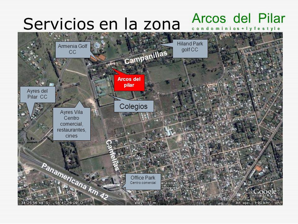 Desarrollo de la zona A solo 600 mt de ruta panamericana Frente a 2 canchas de golf A 300 mt de 2 colegios A 600 mt de Office park A 700 mt de centro comercial Restaurants, cines, etc