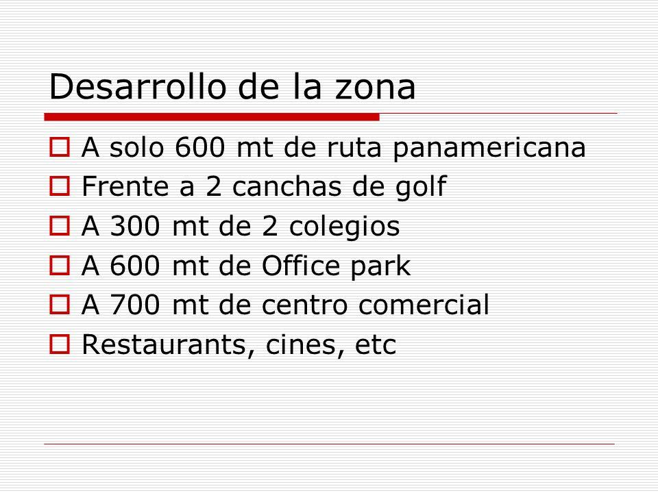 Desarrollo de la zona A solo 600 mt de ruta panamericana Frente a 2 canchas de golf A 300 mt de 2 colegios A 600 mt de Office park A 700 mt de centro