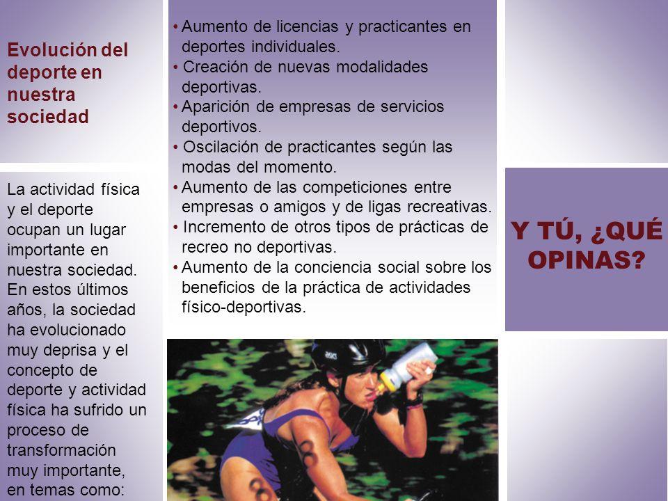 Evolución del deporte en nuestra sociedad Aumento de licencias y practicantes en deportes individuales. Creación de nuevas modalidades deportivas. Apa