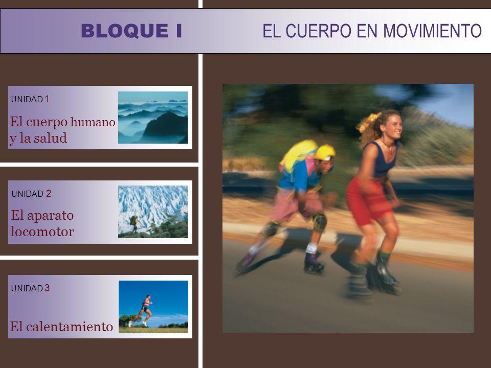 BLOQUE I EL CUERPO EN MOVIMIENTO UNIDAD 1 UNIDAD 3 El cuerpo humano y la salud El calentamiento El aparato locomotor UNIDAD 2