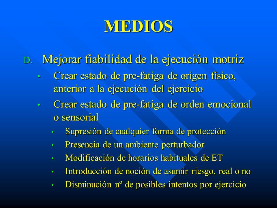MEDIOS D. Mejorar fiabilidad de la ejecución motriz Crear estado de pre-fatiga de origen físico, anterior a la ejecución del ejercicio Crear estado de
