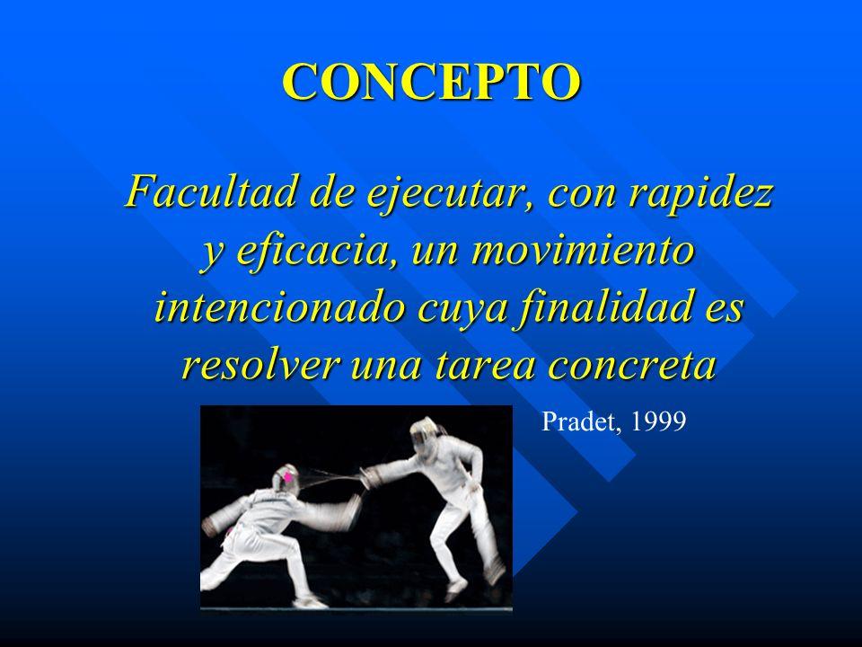 CONCEPTO Facultad de ejecutar, con rapidez y eficacia, un movimiento intencionado cuya finalidad es resolver una tarea concreta Pradet, 1999