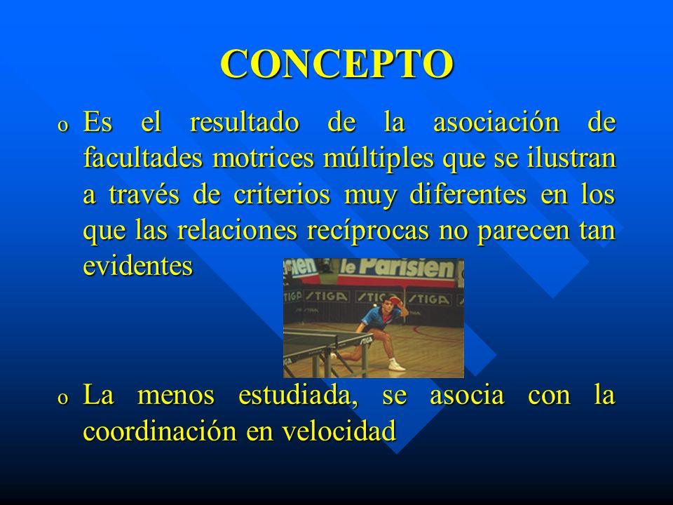 CONCEPTO o Es el resultado de la asociación de facultades motrices múltiples que se ilustran a través de criterios muy diferentes en los que las relac