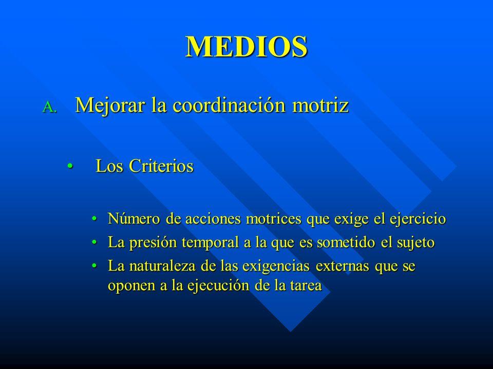 MEDIOS A. Mejorar la coordinación motriz Los CriteriosLos Criterios Número de acciones motrices que exige el ejercicioNúmero de acciones motrices que