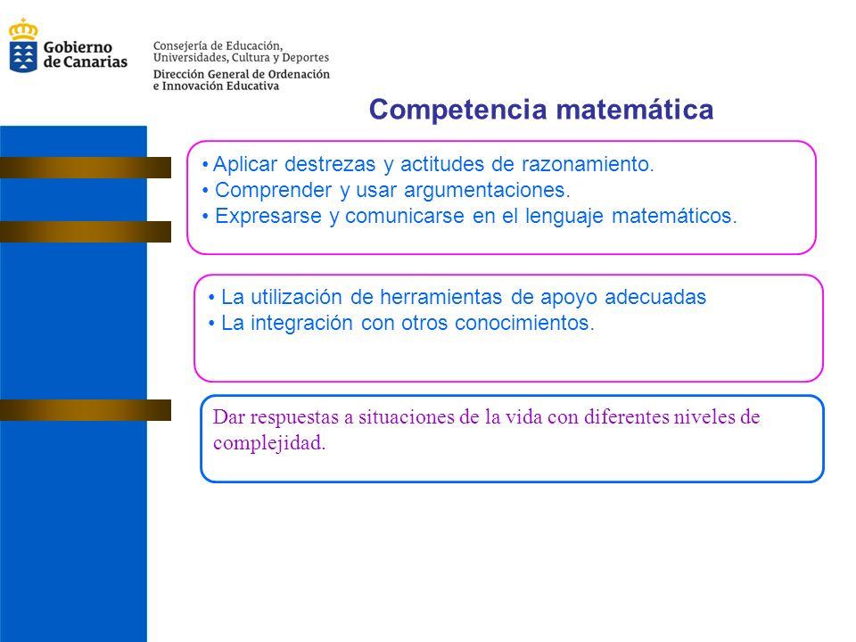 Competencia matemática Aplicar destrezas y actitudes de razonamiento.