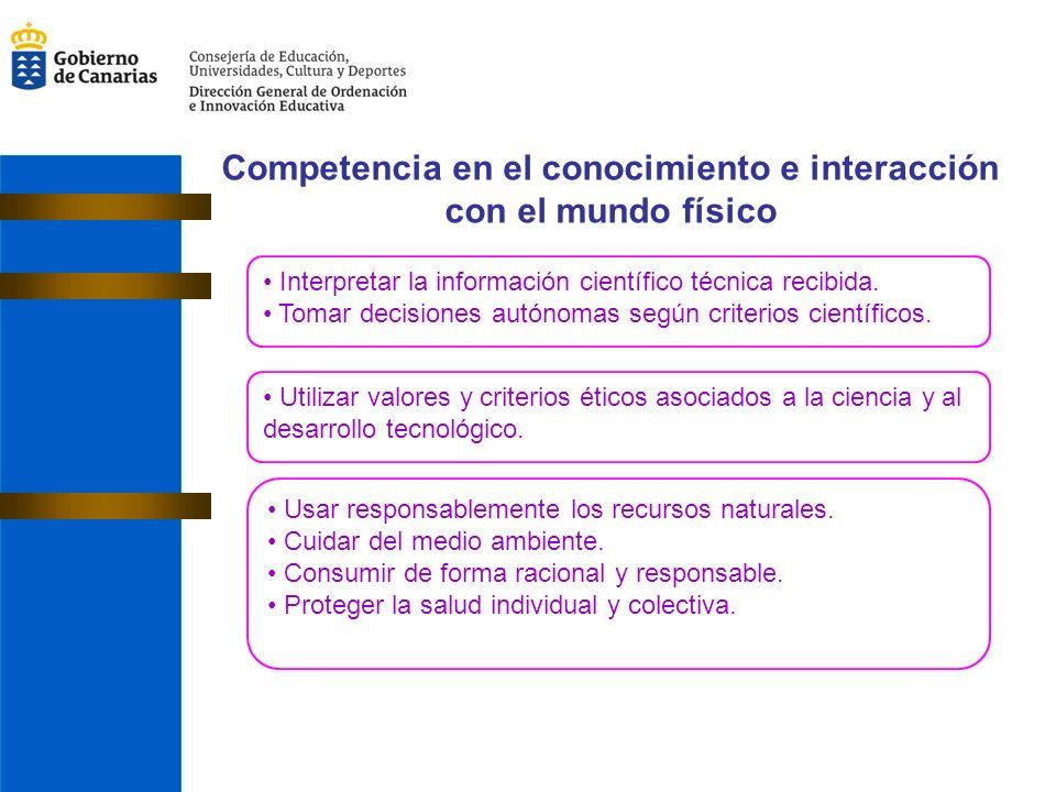 Competencia en el conocimiento e interacción con el mundo físico Interpretar la información científico técnica recibida.