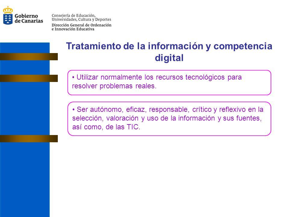 Tratamiento de la información y competencia digital Utilizar normalmente los recursos tecnológicos para resolver problemas reales.