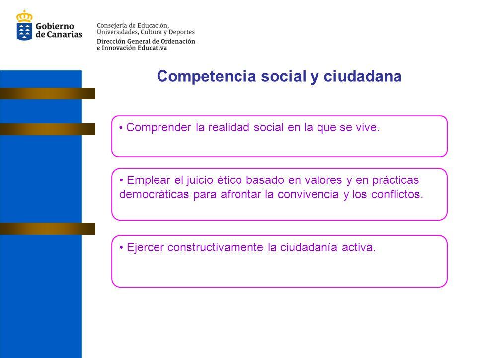 Competencia social y ciudadana Comprender la realidad social en la que se vive.
