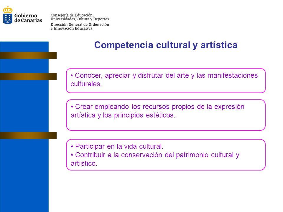 Competencia cultural y artística Conocer, apreciar y disfrutar del arte y las manifestaciones culturales.