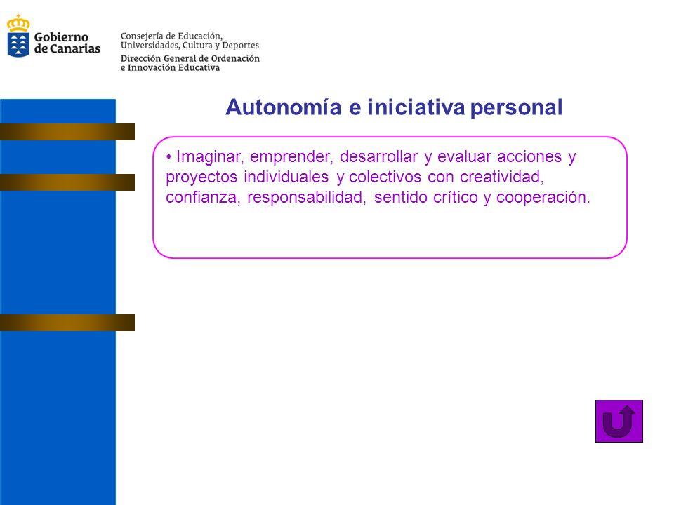 Autonomía e iniciativa personal Imaginar, emprender, desarrollar y evaluar acciones y proyectos individuales y colectivos con creatividad, confianza, responsabilidad, sentido crítico y cooperación.