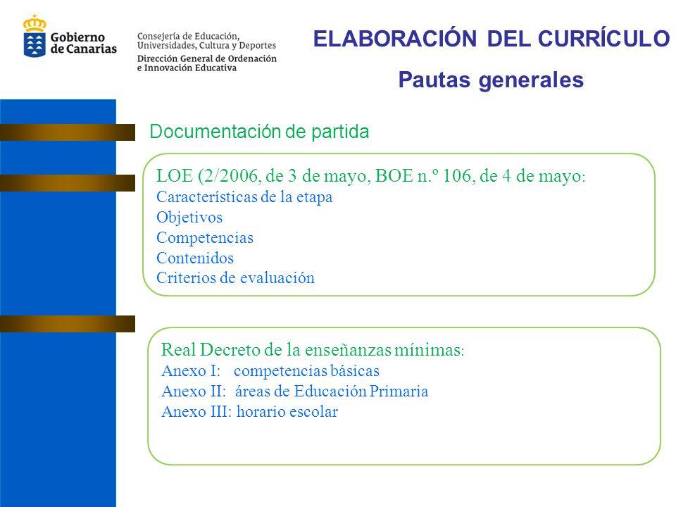 ELABORACIÓN DEL CURRÍCULO Pautas generales Documentación de partida LOE (2/2006, de 3 de mayo, BOE n.º 106, de 4 de mayo : Características de la etapa Objetivos Competencias Contenidos Criterios de evaluación Real Decreto de la enseñanzas mínimas : Anexo I: competencias básicas Anexo II: áreas de Educación Primaria Anexo III: horario escolar
