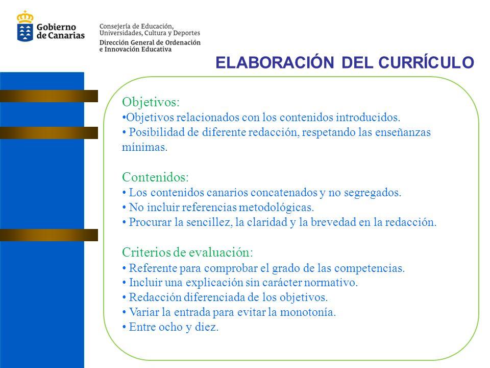 ELABORACIÓN DEL CURRÍCULO Objetivos: Objetivos relacionados con los contenidos introducidos.