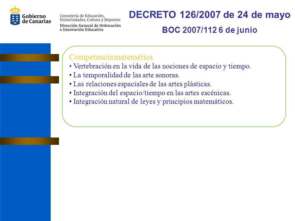 DECRETO 126/2007 de 24 de mayo BOC 2007/112 6 de junio Competencia matemática Vertebración en la vida de las nociones de espacio y tiempo.