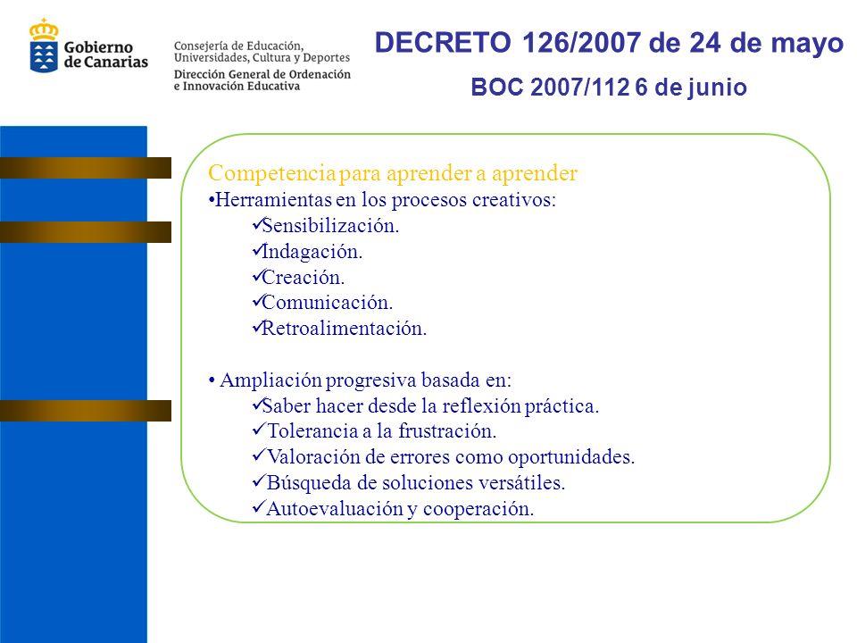 DECRETO 126/2007 de 24 de mayo BOC 2007/112 6 de junio Competencia para aprender a aprender Herramientas en los procesos creativos: Sensibilización.
