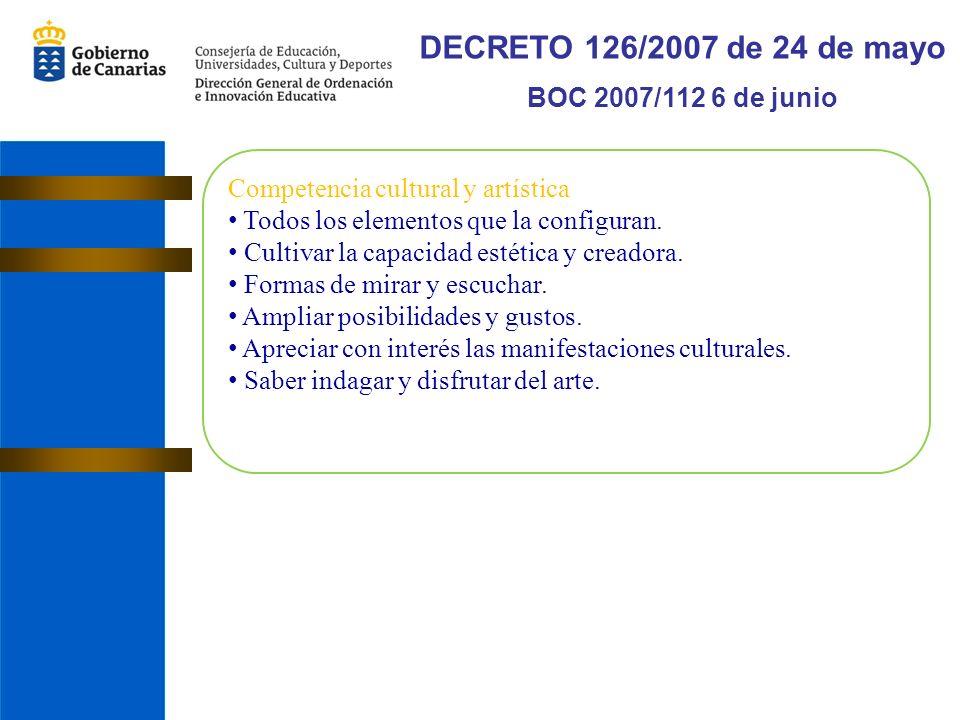 DECRETO 126/2007 de 24 de mayo BOC 2007/112 6 de junio Competencia cultural y artística Todos los elementos que la configuran.