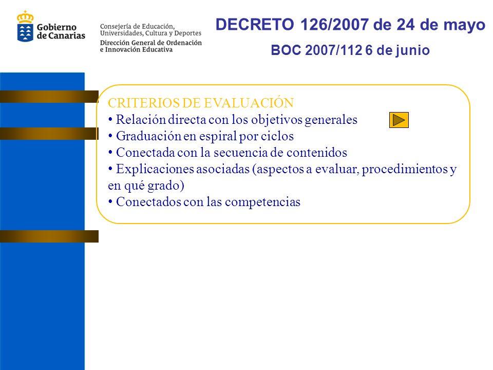 DECRETO 126/2007 de 24 de mayo BOC 2007/112 6 de junio CRITERIOS DE EVALUACIÓN Relación directa con los objetivos generales Graduación en espiral por ciclos Conectada con la secuencia de contenidos Explicaciones asociadas (aspectos a evaluar, procedimientos y en qué grado) Conectados con las competencias