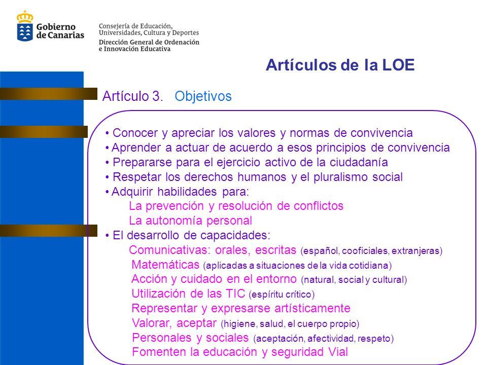 Artículos de la LOE Artículo 3.
