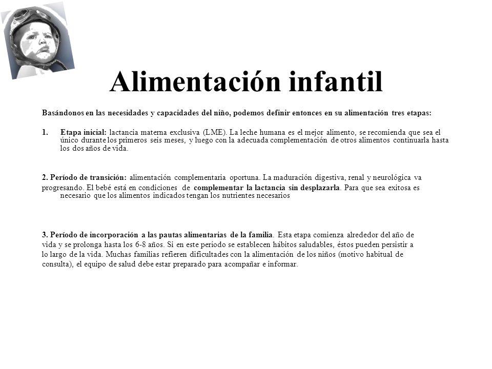 Alimentación infantil Basándonos en las necesidades y capacidades del niño, podemos definir entonces en su alimentación tres etapas: 1.Etapa inicial: lactancia materna exclusiva (LME).