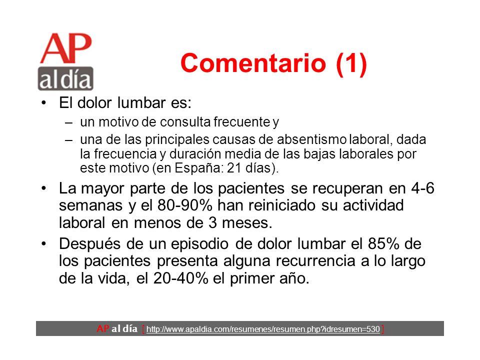 AP al día [ http://www.apaldia.com/resumenes/resumen.php?idresumen=530 ] Conclusiones Los autores concluyen que en los trabajadores familiares y sanit