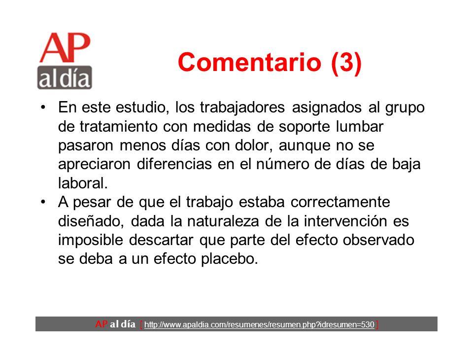 AP al día [ http://www.apaldia.com/resumenes/resumen.php?idresumen=530 ] Comentario (2) La causa del dolor lumbar es imposible de detectar en el 90% d