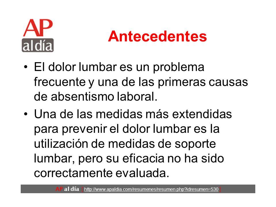 ¿Son eficaces las medidas de soporte lumbar en la prevención de la lumbalgia.