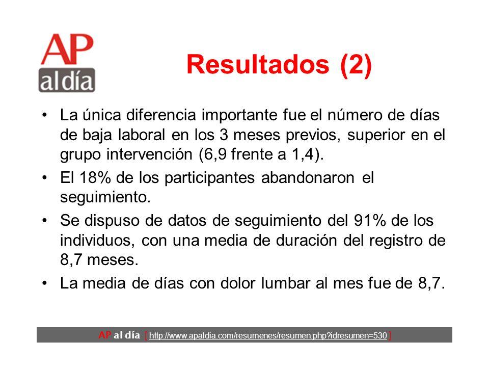AP al día [ http://www.apaldia.com/resumenes/resumen.php?idresumen=530 ] Resultados (1) Las características de los dos grupos eran comparables: Edad media: 41 años.