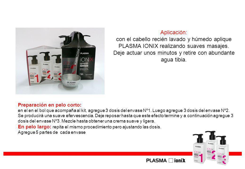 Aplicación: con el cabello recién lavado y húmedo aplique PLASMA IONIX realizando suaves masajes. Deje actuar unos minutos y retire con abundante agua