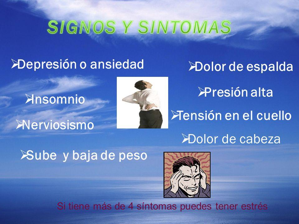 Depresión o ansiedad Insomnio Nerviosismo Dolor de espalda Presión alta Tensión en el cuello Sube y baja de peso Dolor de cabeza Si tiene más de 4 sín