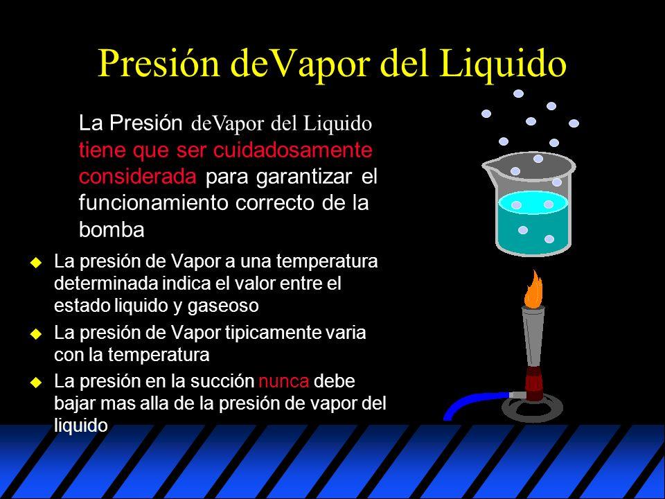 Presión deVapor del Liquido La Presión deVapor del Liquido tiene que ser cuidadosamente considerada para garantizar el funcionamiento correcto de la bomba u La presión de Vapor a una temperatura determinada indica el valor entre el estado liquido y gaseoso u La presión de Vapor tipicamente varia con la temperatura u La presión en la succión nunca debe bajar mas alla de la presión de vapor del liquido