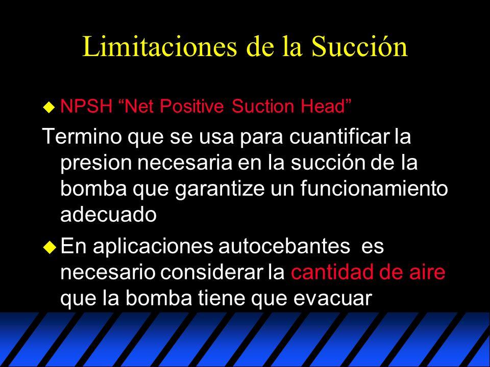 Limitaciones de la Succión u NPSH Net Positive Suction Head Termino que se usa para cuantificar la presion necesaria en la succión de la bomba que garantize un funcionamiento adecuado u En aplicaciones autocebantes es necesario considerar la cantidad de aire que la bomba tiene que evacuar