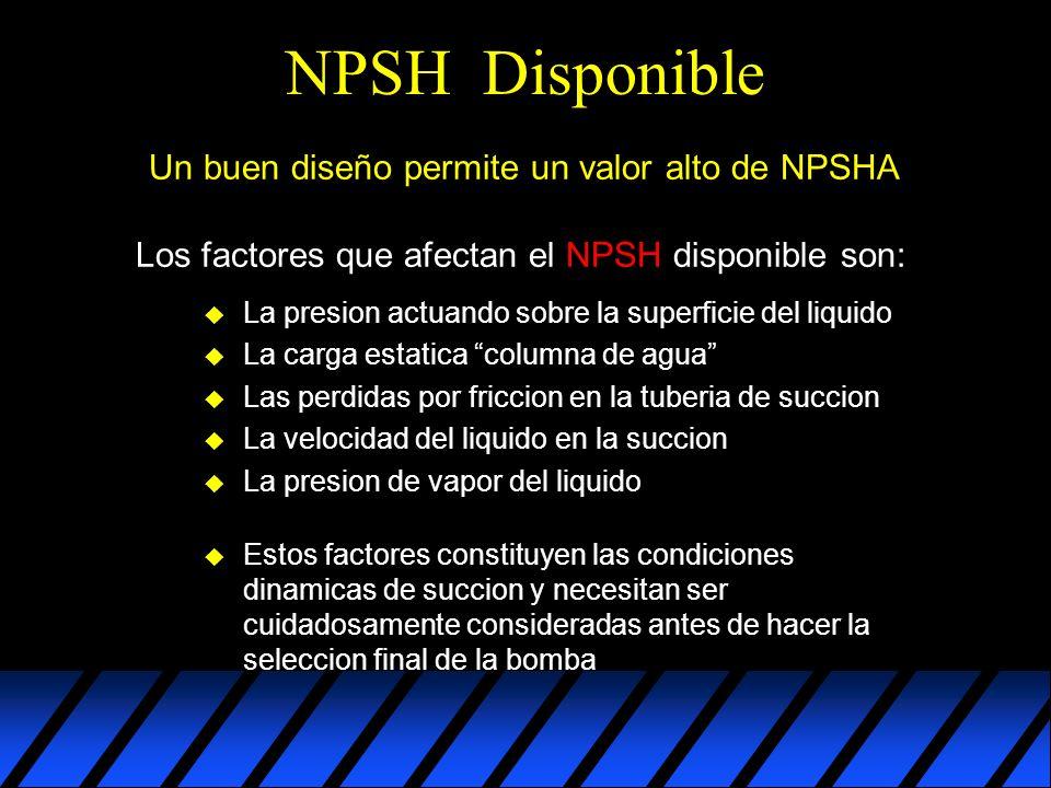 Notas Mentales u Mal comportamiento de la bomba u Vibración excesiva u Operación ruidosa u Fallo prematuro de los componentes NPSHA (disponible) Tiene que ser mucho mayor que el NPSHR (requerido) por la bomba para prevenir: Un buen diseño permite un valor alto de NPSHA