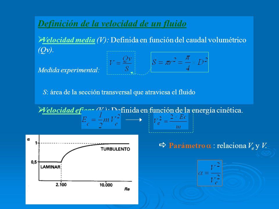Definición de la velocidad de un fluido Velocidad media (V): Definida en función del caudal volumétrico (Qv). Medida experimental: S: área de la secci