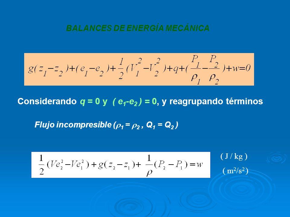 BALANCES DE ENERGÍA MECÁNICA Considerando q = 0 y ( e 1 -e 2 ) = 0, y reagrupando términos ( J / kg ) ( m 2 /s 2 ) Flujo incompresible ( 1 = 2, Q 1 =