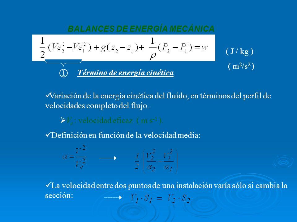 BALANCES DE ENERGÍA MECÁNICA ( J / kg ) ( m 2 /s 2 ) Término de energía cinética Variación de la energía cinética del fluido, en términos del perfil de velocidades completo del flujo.