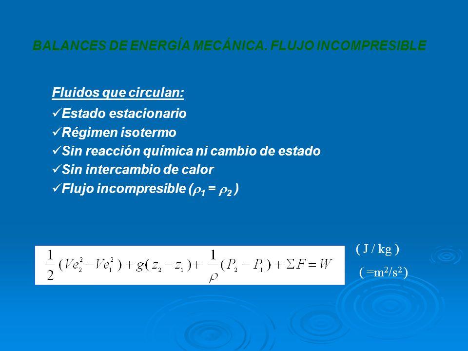BALANCES DE ENERGÍA MECÁNICA. FLUJO INCOMPRESIBLE ( J / kg ) ( =m 2 /s 2 ) Fluidos que circulan: Estado estacionario Régimen isotermo Sin reacción quí