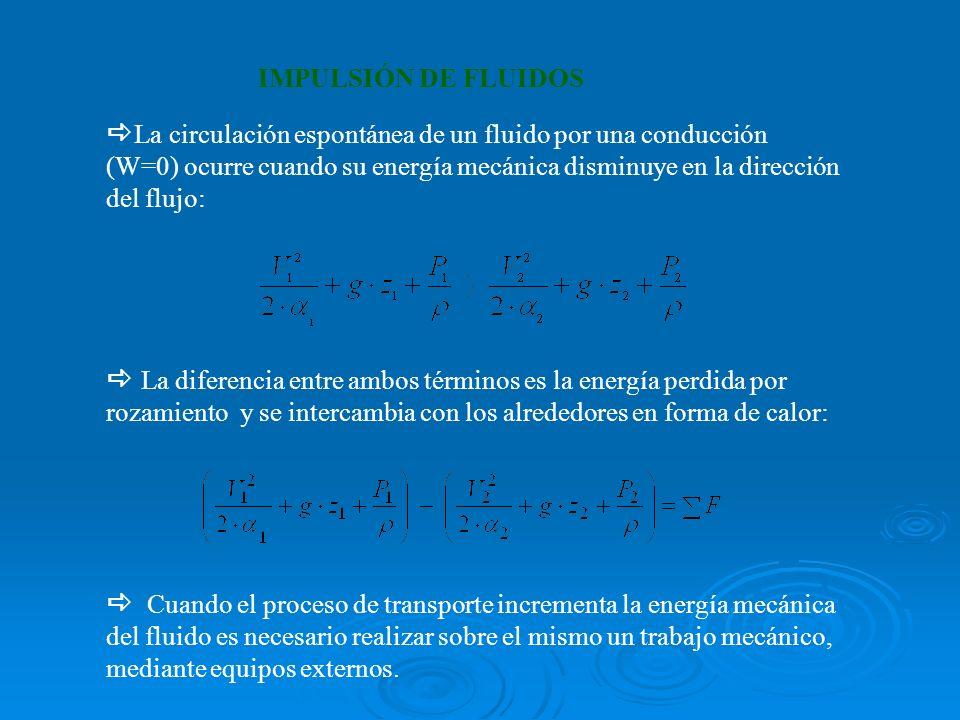 IMPULSIÓN DE FLUIDOS La circulación espontánea de un fluido por una conducción (W=0) ocurre cuando su energía mecánica disminuye en la dirección del flujo: La diferencia entre ambos términos es la energía perdida por rozamiento y se intercambia con los alrededores en forma de calor: Cuando el proceso de transporte incrementa la energía mecánica del fluido es necesario realizar sobre el mismo un trabajo mecánico, mediante equipos externos.