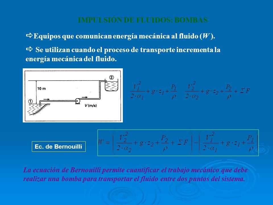 IMPULSIÓN DE FLUIDOS: BOMBAS Equipos que comunican energía mecánica al fluido (W ). Se utilizan cuando el proceso de transporte incrementa la energía