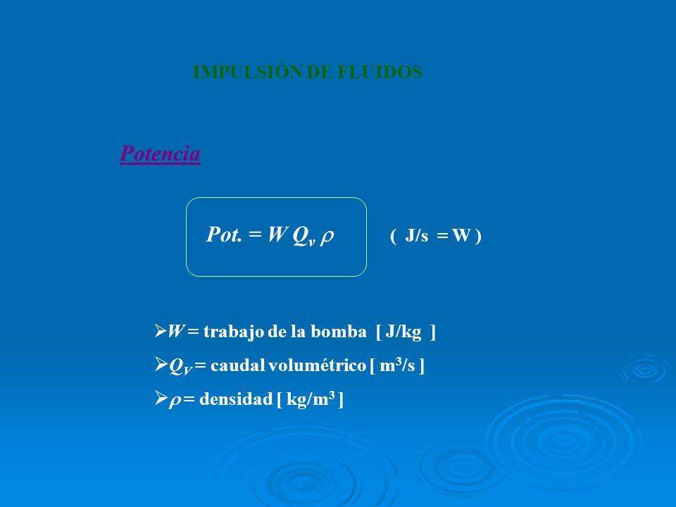 Potencia Pot. = W Q v ( J/s = W ) W = trabajo de la bomba [ J/kg ] Q V = caudal volumétrico [ m 3 /s ] = densidad [ kg/m 3 ] IMPULSIÓN DE FLUIDOS