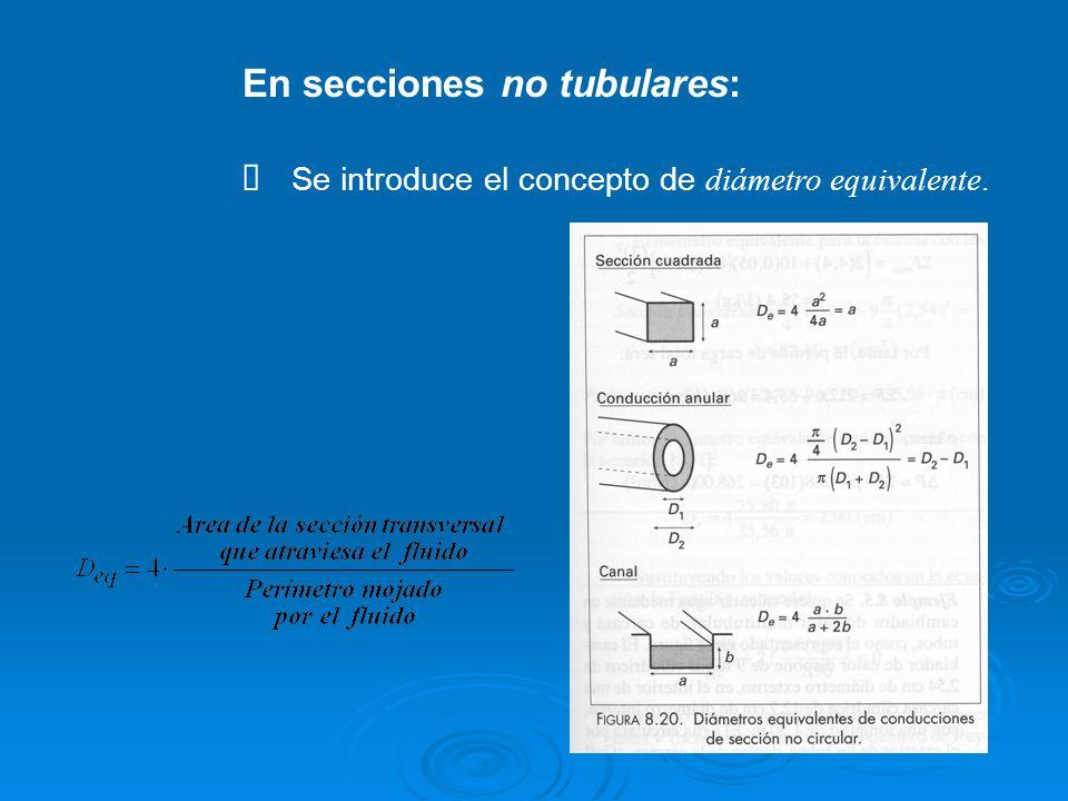 En secciones no tubulares: Se introduce el concepto de diámetro equivalente.