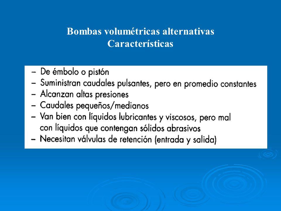 Bombas volumétricas alternativas Características