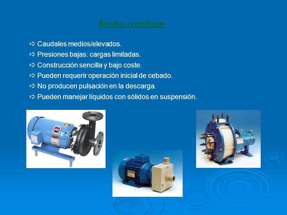 Caudales medios/elevados. Presiones bajas: cargas limitadas. Construcción sencilla y bajo coste. Pueden requerir operación inicial de cebado. No produ
