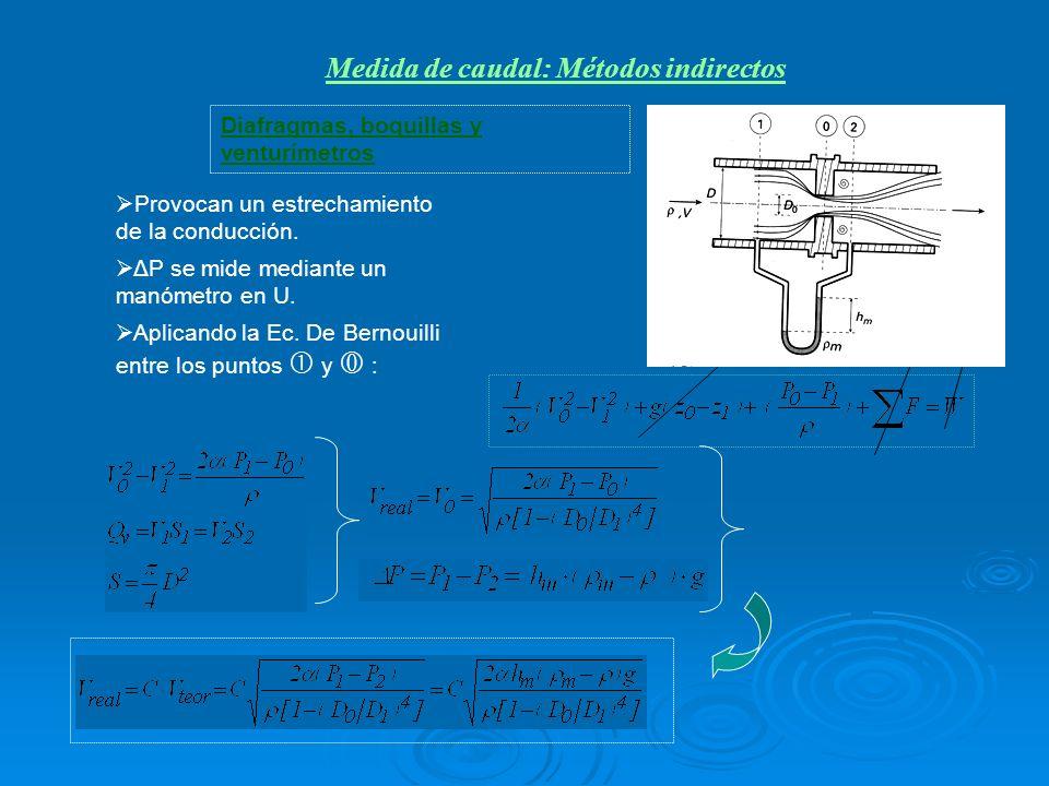 Diafragmas, boquillas y venturímetros Provocan un estrechamiento de la conducción. ΔP se mide mediante un manómetro en U. Aplicando la Ec. De Bernouil